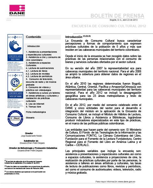 Encuesta de Consumo Cultural 2012. Boletín de prensa
