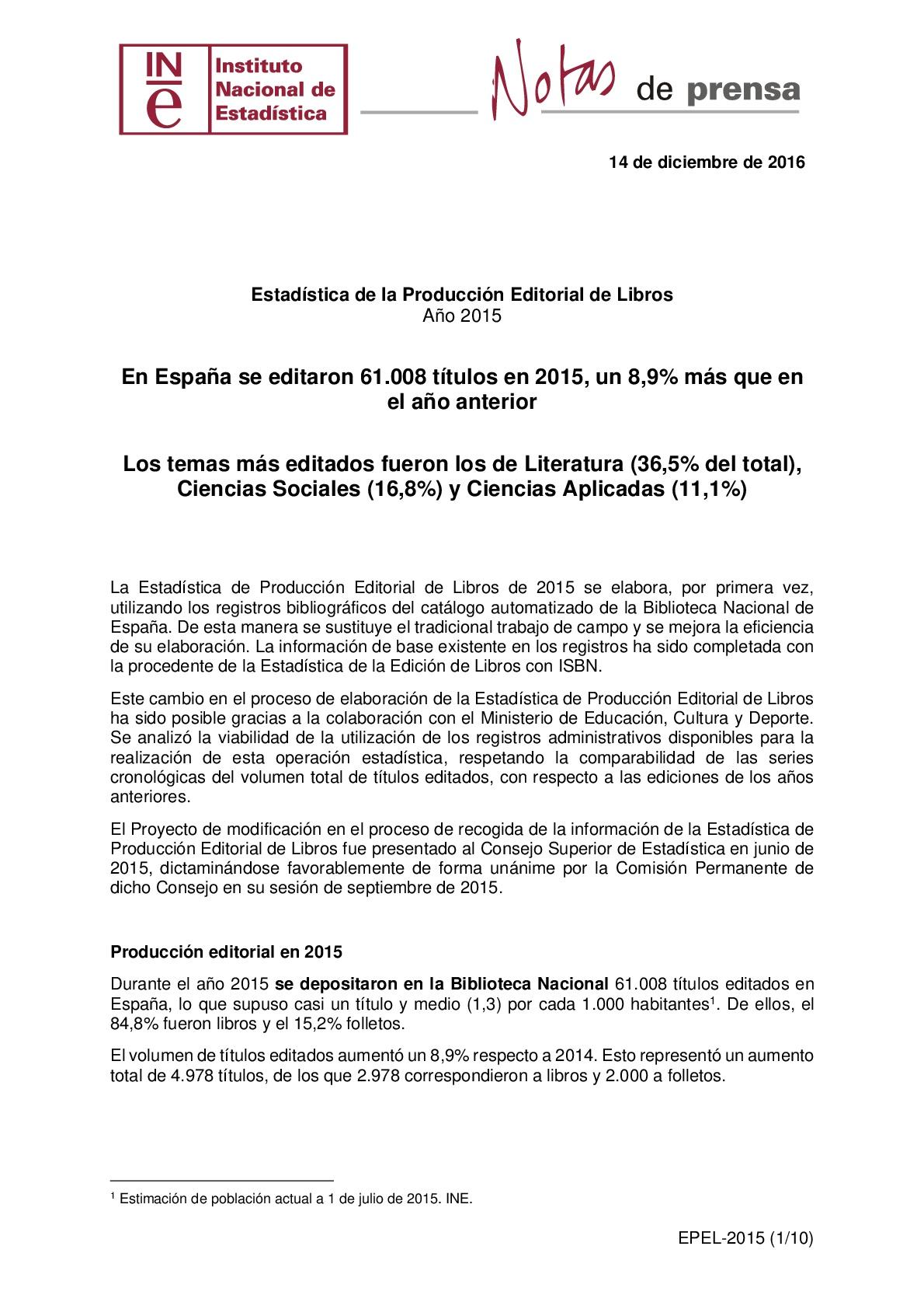 Estadística de la producción editorial de libros. Año 2015