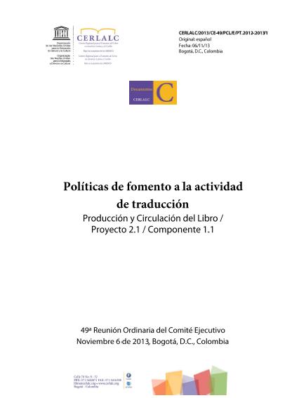 Políticas de fomento a la actividad de traducción